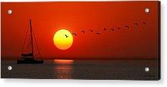 Acrylic Print featuring the photograph Sailboat At Sunset by Joe Bonita