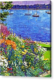 Sailboat Bay Garden Acrylic Print by David Lloyd Glover