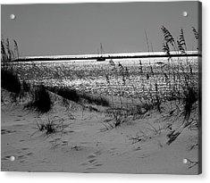 Sailboat Between Sand Dunes Acrylic Print