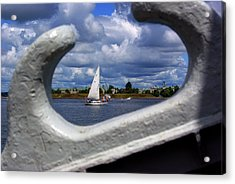 Sailboat From A Cleat's View Acrylic Print by Paul Wash