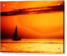 Sailboat In Orange Acrylic Print by Lyle  Huisken