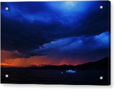Acrylic Print featuring the photograph Sailboat In Thunderstorm by Sean Sarsfield