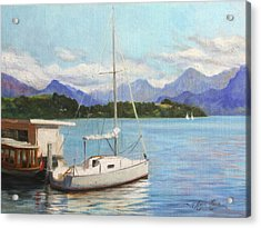 Sailboat On Lake Lucerne Switzerland Acrylic Print