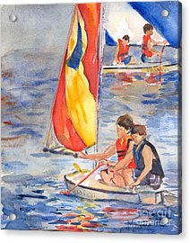 Sailboat Painting In Watercolor Acrylic Print by Maria's Watercolor