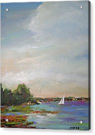 Sailboat Painting Meet You There Acrylic Print by Karen Fields