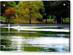 Sailboat Pond At Central Park Acrylic Print by Christopher Kirby