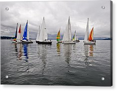 Sailboat Race Seattle Acrylic Print by Tom Dowd