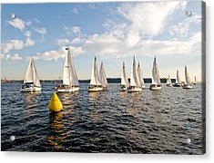 Sailboat Racers Acrylic Print by Tom Dowd