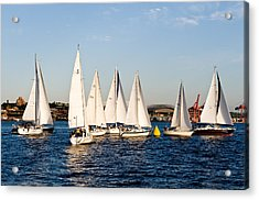 Sailboat Racing Acrylic Print by Tom Dowd
