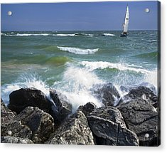 Sailboat Sailing Off The Shore At Ottawa Beach State Park Acrylic Print