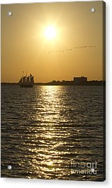 Sailboat Sunset On The Charleston Harbor Acrylic Print