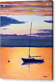 Sailboat Sunset Acrylic Print by Robert Henne