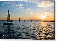 Sailboat Sunset Acrylic Print by Tom Dowd