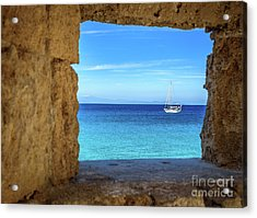 Sailboat Through The Old Stone Walls Of Rhodes, Greece Acrylic Print