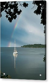 Sailboat Under The Rainbow Acrylic Print by Mary Lee Dereske