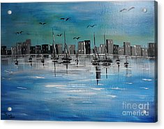 Sailboats And Cityscape Acrylic Print