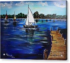 Sailboats And Pier Acrylic Print