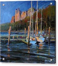 Sailboats At Dusk, Hudson River Acrylic Print by Peter Salwen