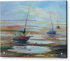 Sailboats At Low Tide Near Nelson, New Zealand Acrylic Print by Barbara Pommerenke