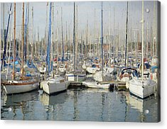 Sailboats At The Dock - Painting Acrylic Print