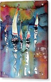 Acrylic Print featuring the painting Sailboats II by Kovacs Anna Brigitta