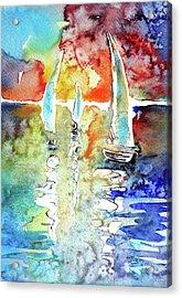 Sailboats In Light Acrylic Print by Kovacs Anna Brigitta