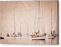 Sailboats In Morro Bay Fog Acrylic Print