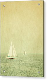 Sailboats In Pastel Acrylic Print by Erin Cadigan