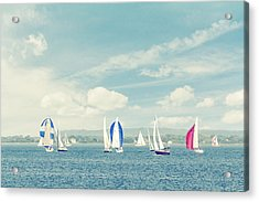 Sailboats On The Raritan Bay Acrylic Print by Erin Cadigan