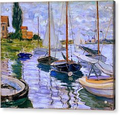 Sailboats On The Seine At Petit Gennevilliers Claude Monet 1874 Acrylic Print