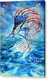 Sailfish Americana Acrylic Print by Tom Dauria