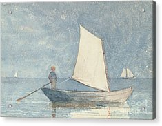Sailing A Dory Acrylic Print by Winslow Homer