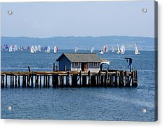 Sailing At Penn Cove Acrylic Print by Mary Gaines