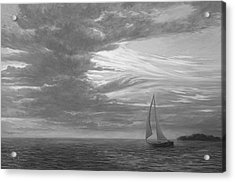 Sailing Away - Black And White Acrylic Print by Lucie Bilodeau