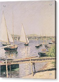 Sailing Boats At Argenteuil Acrylic Print by Gustave Caillebotte