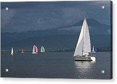 Sailing Boats By Stormy Weather, Geneva Lake, Switzerland Acrylic Print