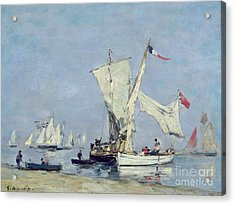Sailing Boats Acrylic Print by Eugene Louis Boudin