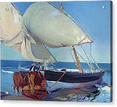 Sailing Boats Acrylic Print by Joaquin Sorolla y Bastida