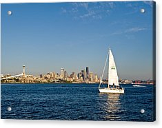 Sailing By Seattle Acrylic Print by Tom Dowd
