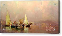 Sailing Fishermen Boats In Naples Acrylic Print