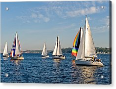 Sailing Group Seattle Acrylic Print by Tom Dowd