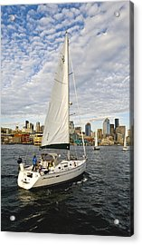 Sailing In Seattle Acrylic Print by Tom Dowd