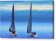 Sailing In The Blue Acrylic Print by Joseph Hollingsworth