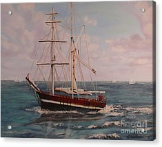 Acrylic Print featuring the painting Sailing In The Caribean by Terri Thompson