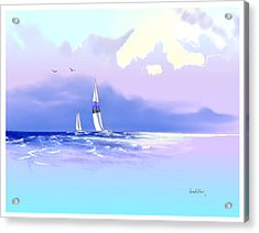 Acrylic Print featuring the painting Sailing Into The Blue by Sena Wilson