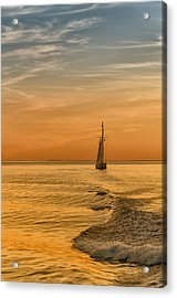 Sailing Into The Sunset Acrylic Print by Linda Pulvermacher