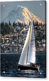 Sailing On Elliot Bay, Seattle, Wa Acrylic Print