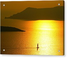 Acrylic Print featuring the photograph Sailing On Gold 1 by Ana Maria Edulescu