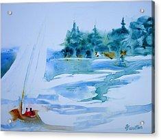 Sailing On Yupo Acrylic Print by Judy Fischer Walton