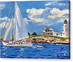 Sailing Past Wood Island Lighthouse Acrylic Print